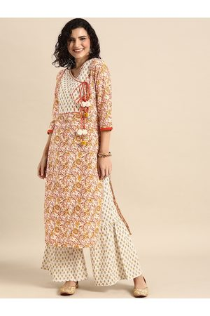 Varanga Women White & Multi coloured Printed Kurta Set