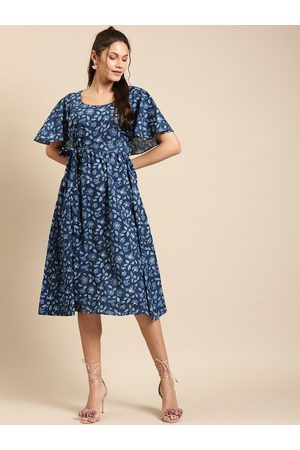 MABISH by Sonal Jain Women Blue Cotton Floral Print Fit and Flare Dress