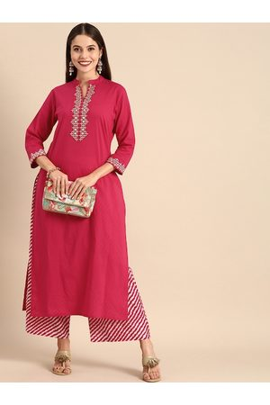 Varanga Women Fuchsia Pink & White Yoke Design Kurta with Palazzos