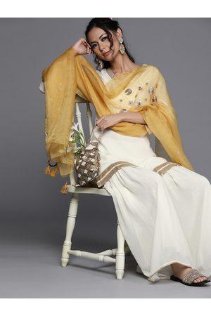 Inddus Women Off-White & Mustard Yellow Embroidered Kurta with Sharara & Dupatta