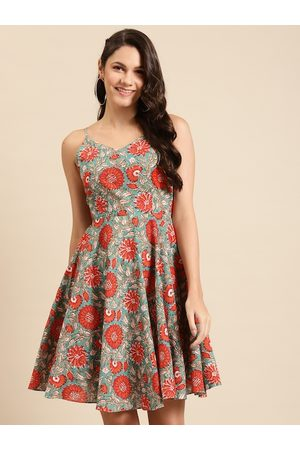 MABISH by Sonal Jain Women Teal Blue & Coral Orange Pure Cotton Printed Fit & Flare Dress