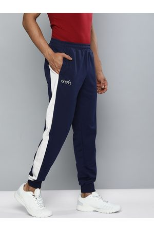 one8 x PUMA Men Navy Blue Slim Fit Solid VK Joggers with Contrast Panels