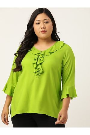 Revolution Women Green Solid Bell Sleeves Top With Ruffle Detailing
