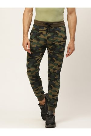 VEIRDO Men Olive Green & Blue Camouflage Printed Pure Cotton Slim Fit Joggers