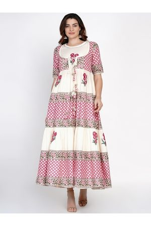 Bhama Couture Women White & Pink Ethnic Motifs Printed Anarkali Kurta