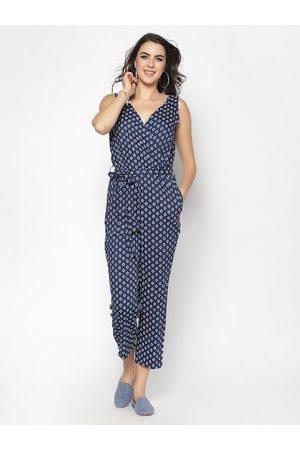 Sera Women Navy Blue Printed Basic Jumpsuit