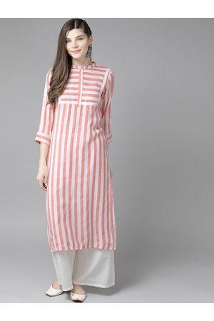 Bhama Couture Women Pink & White Striped Kurta with Palazzos