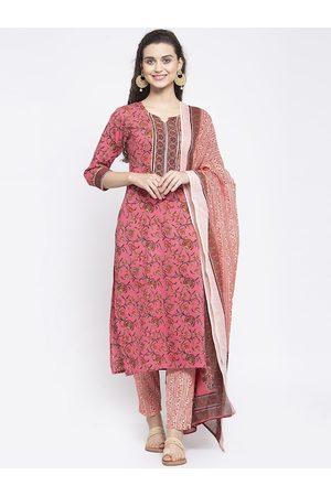 Anaisa Women Pink Printed Kurta with Trousers & Dupatta