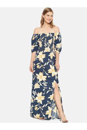 Campus Women Navy Blue Printed Maxi Dress
