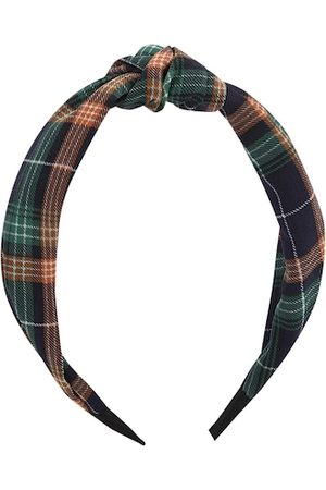 Kazo Navy Blue & Brown Knotted Checks Hairband