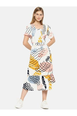 Campus Women White Printed A-Line Dress