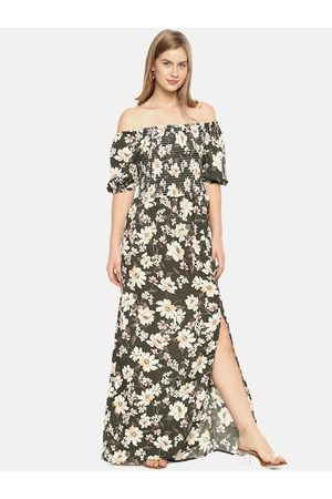 Campus Women Olive Green Printed Maxi Dress