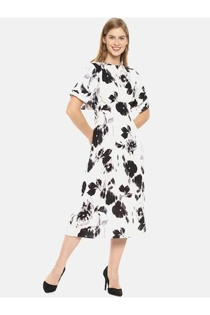 Campus Women White Printed Fit and Flare Dress