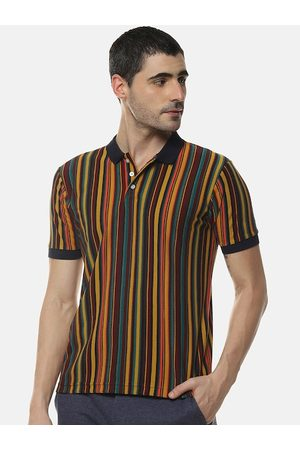Campus Men Multicoloured Striped Polo Collar T-shirt