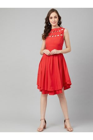 Rare Fashion Women Red Solid Fit and Flare Dress