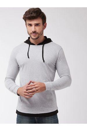 GRITSTONES Men Grey Solid Hood T-shirt