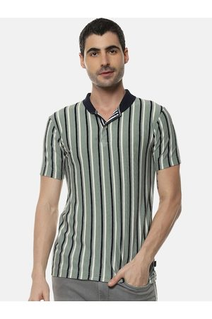 Campus Men Multicoloured Striped V-Neck T-shirt