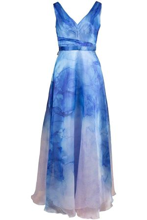 Marchesa Notte V-Neck Printed Organza Gown
