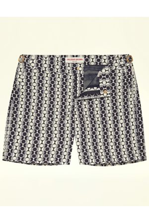 Orlebar Brown Men Swim Shorts - Ink and Sand Mid-Length Swim Bulldog X Shorts