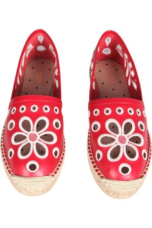 RED(V) PERFORATED LEATHER ESPADRILLES