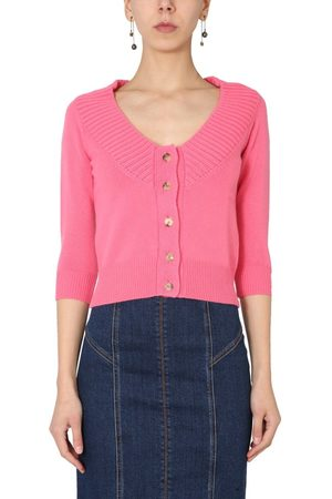 Alexander McQueen WOMEN'S 650364Q1ATL5060 FUCHSIA OTHER MATERIALS CARDIGAN