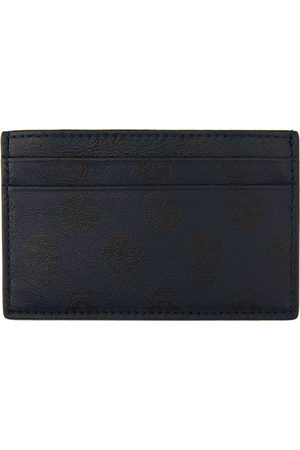Alexander McQueen Navy Skull Print Card Holder