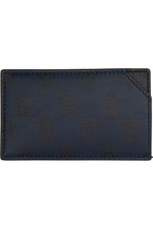 Alexander McQueen Navy Skull Print Slim Card Holder