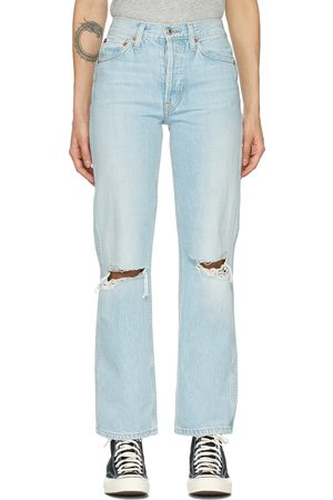 Women Jeans - Re/Done Blue Distressed 90s High Rise Loose Jeans