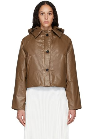 Women Leather Jackets - KASSL Editions Tan Down Oil Cropped Puffer Jacket