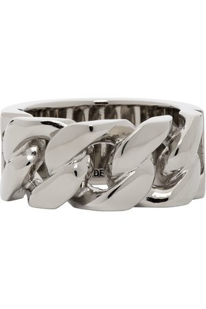 Alexander McQueen Silver Snake & Tag Chain Ring