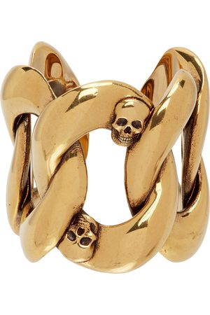 Men Rings - Alexander McQueen Gold Chain & Skull Ring