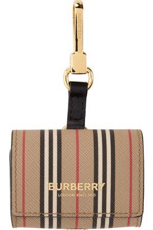 Burberry Beige E-Canvas Icon Stripe AirPods Pro Case Keychain