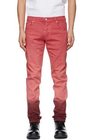 Alexander McQueen & Burgundy Denim Dip Dye Washed Jeans