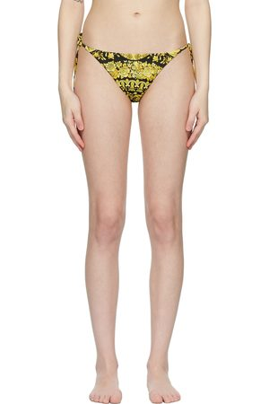Versace Underwear Black & Yellow Barocco Bikini Bottoms