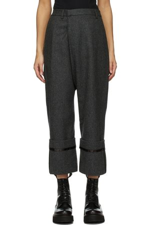 R13 Grey Wool Tailored Cross Over Trousers