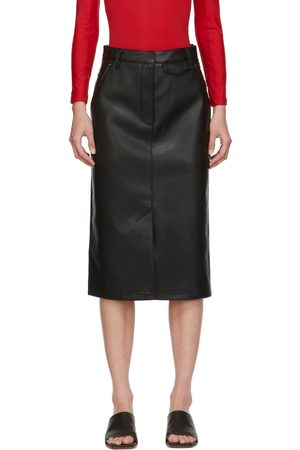 Women Leather Skirts - Pushbutton SSENSE Exclusive Faux-Leather & Denim Skirt