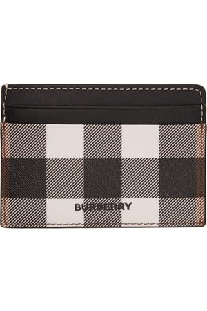 Men Wallets - Burberry Black & White E-Canvas Check Kier Card Holder