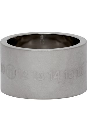 Men Rings - Maison Margiela Silver Brushed Chunky Numbers Ring