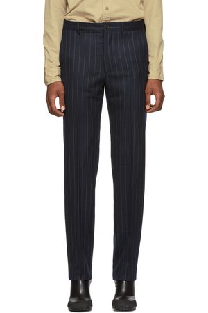 Men Formal Trousers - Random Identities Navy & White Wool Classic Trousers