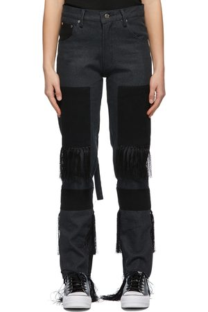 Women High Waisted - Youths in Balaclava Grey & Black Fringed High Waisted Jeans