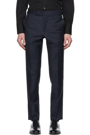 Men Formal Trousers - TOM FORD Navy Sharkskin O'Connor Trousers