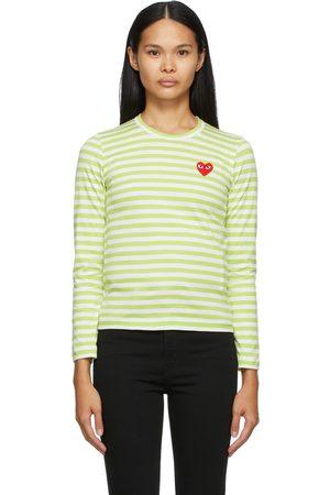 Comme des Garçons Play & White Striped Heart Patch Long Sleeve T-Shirt