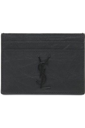 Saint Laurent Embossed Leather Card Holder