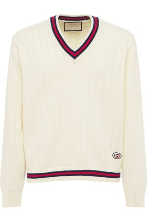 Gucci Cotton Knit V-neck Sweater W/ Web
