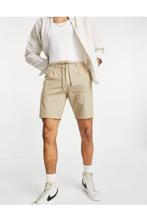 Only & Sons Linen drawstring shorts in beige