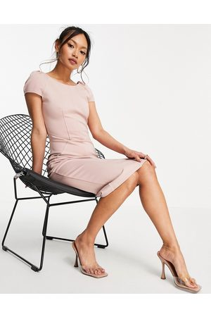 Closet Puff shoulder pencil dress with bodice detail in blush