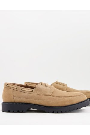 H by Hudson Keilder chunky boat shoes in beige suede