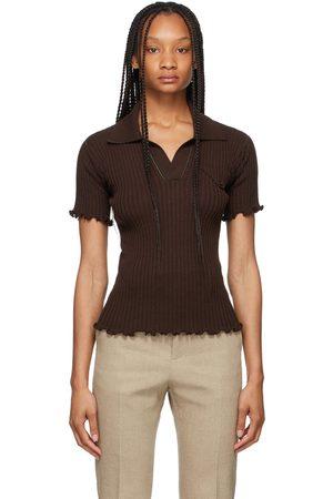 Women Polo Shirts - Bottega Veneta Brown Lightweight Rib Knit Polo