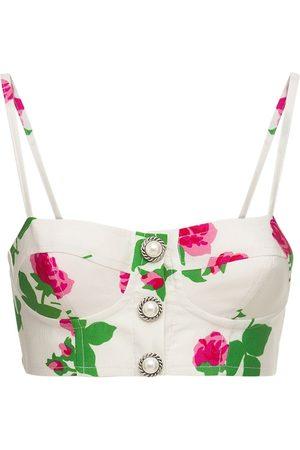Alessandra Rich Rose Print Viscose Bralette Top