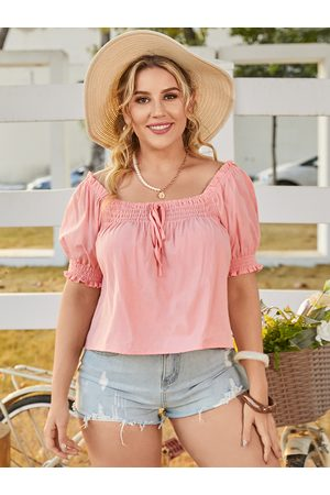 YOINS Plus Size Square Neck Tie-up Design Short Sleeves Tee